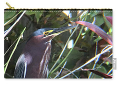 Heron With Yellow Eyes Carry-all Pouch by Val Oconnor