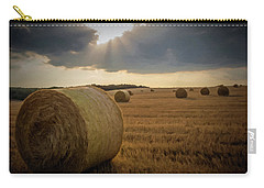 Carry-all Pouch featuring the photograph Hey Bales And Sun Rays by David Dehner