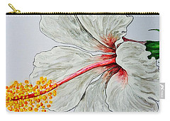 Hibiscus White And Red Carry-all Pouch