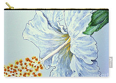Carry-all Pouch featuring the painting Hibiscus White And Yellow by Sheron Petrie