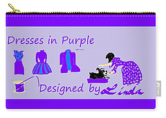 High Style Fashion, Dresses In Purple Carry-all Pouch by Linda Velasquez
