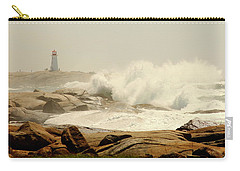 High Surf After A Hurricane Crashing On The Rocks At Peggy's Cove, Nova Scotia, Canada Carry-all Pouch