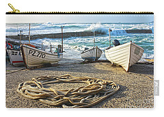 Carry-all Pouch featuring the photograph High Tide In Sennen Cove Cornwall by Terri Waters