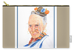 Himalayan Smile Lines -- Portrait Of Old Asian Woman Carry-all Pouch