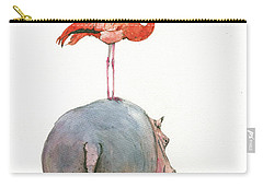 Hippo With Flamingo Carry-all Pouch by Juan Bosco