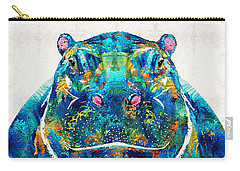 Hippopotamus Art - Happy Hippo - By Sharon Cummings Carry-all Pouch by Sharon Cummings