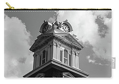 Carry-all Pouch featuring the photograph Historic Courthouse Steeple In Bw by Doug Camara
