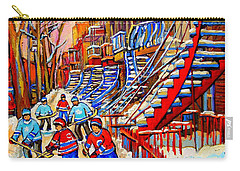 Hockey Game Near The Red Staircase Carry-all Pouch