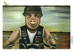 Carry-all Pouch featuring the painting Hog Wild by Leah Saulnier The Painting Maniac