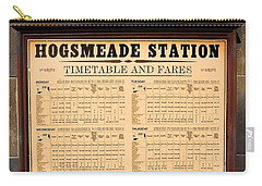 Carry-all Pouch featuring the photograph Hogsmeade Station Timetable by Juergen Weiss