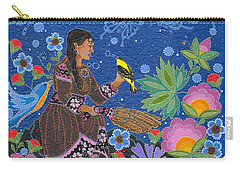 Carry-all Pouch featuring the painting Hole In The Sky's Daughter by Chholing Taha