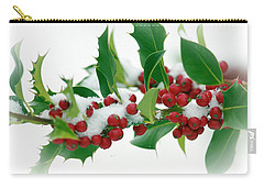 Carry-all Pouch featuring the photograph Holly Berries On White by Sharon Talson