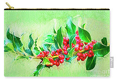 Carry-all Pouch featuring the photograph Holly Berries Photo Art by Sharon Talson