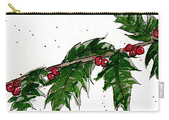 Carry-all Pouch featuring the painting Holly Holiday Greetings by Rebecca Davis