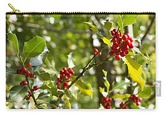 Carry-all Pouch featuring the photograph Holly With Berries by Chevy Fleet