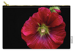 Hollyhock On Black Carry-all Pouch by Aliceann Carlton
