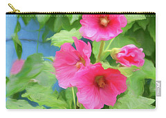 Carry-all Pouch featuring the photograph Hollyhocks - 1 by Nikolyn McDonald