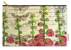 Carry-all Pouch featuring the drawing Hollyhocks And Butterflies  by Cathie Richardson