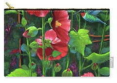 Hollyhocks And Hummingbird Carry-all Pouch