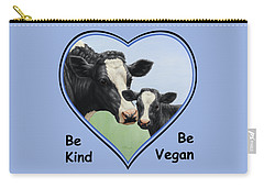 Holstein Cow And Calf Blue Heart Vegan Carry-all Pouch by Crista Forest