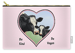 Holstein Cow And Calf Pink Heart Vegan Carry-all Pouch by Crista Forest