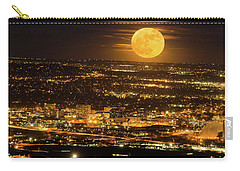 Home Sweet Hometown Bathed In The Glow Of The Super Moon  Carry-all Pouch by Bijan Pirnia