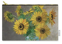 Homegrown - Sunflowers In A Mason Jar With Gardening Gloves And Blue Cream Pitcher Carry-all Pouch