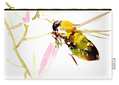 Honey Bee And Pink Flower Carry-all Pouch