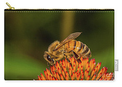 Honey Bee On Flower Three Carry-all Pouch by Randy Steele