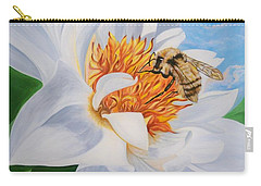 Honey Bee On White Flower Carry-all Pouch