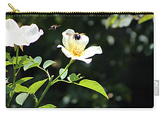 Honey Bees In Flight Over White Rose Carry-all Pouch