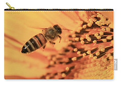 Carry-all Pouch featuring the photograph Honeybee And Sunflower by Chris Berry