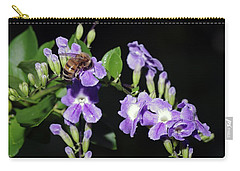 Carry-all Pouch featuring the photograph Honeybee On Golden Dewdrop II by Richard Rizzo