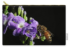 Carry-all Pouch featuring the photograph Honeybee On Golden Dewdrop by Richard Rizzo