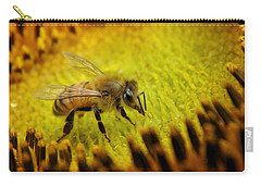 Carry-all Pouch featuring the photograph Honeybee On Sunflower by Chris Berry
