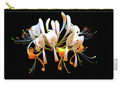 Carry-all Pouch featuring the photograph Honeysuckle On Black by Nick Kloepping