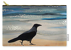 Hooded Crow At The Black Sea By Dora Hathazi Mendes Carry-all Pouch by Dora Hathazi Mendes