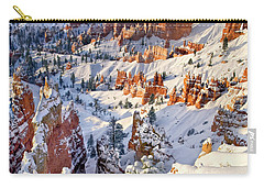 Carry-all Pouch featuring the photograph Hoodoos And Fir Tree In Winter Bryce Canyon Np Utah by Dave Welling