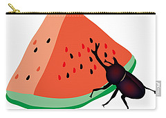 Horn Beetle Is Eating A Piece Of Red Watermelon Carry-all Pouch