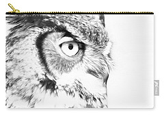 Horned Owl Pen And Ink Carry-all Pouch by Steve McKinzie