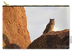 Horned Owl Perched At Sunset Carry-all Pouch by Natalie Ortiz