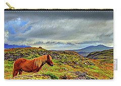 Carry-all Pouch featuring the photograph Horse And Mountains by Scott Mahon