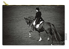 Horse Dressage - Black And White Carry-all Pouch