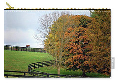 Carry-all Pouch featuring the photograph Horse Farm Country In The Fall by Sumoflam Photography