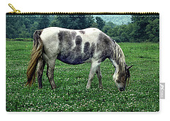 Horse Grazing In A Field Of Clover Carry-all Pouch