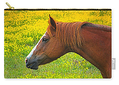 Carry-all Pouch featuring the photograph Horse In Yellow Field by Wendy McKennon