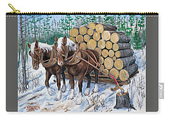 Horse Log Team Carry-all Pouch