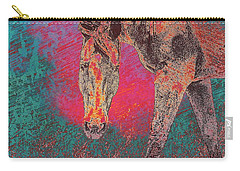 Horse Multi Color Carry-all Pouch