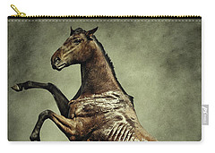 Horse Rearing Up On Dust Background Carry-all Pouch