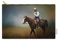 Carry-all Pouch featuring the photograph Horse Ride At The End Of Day by David and Carol Kelly